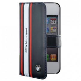 Etui Rabat Folio Motorsport Bleu BMW pour IPhone 4/ 4S