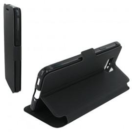 Housse portefeuille latérale avec support pour Samsung Galaxy Alpha - couleur noire