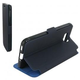Housse portefeuille latérale avec support pour Samsung Galaxy Alpha - couleur Bleu Nuit