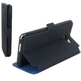 Housse portefeuille latérale avec support pour Sony Xperia M2 couleur Bleu nuit