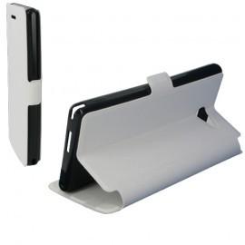 Housse portefeuille latérale avec support pour Sony Xperia M2 couleur Blanc