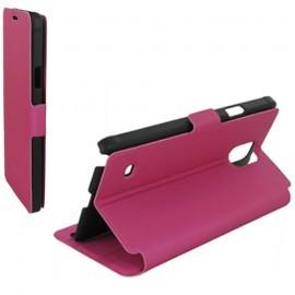 Housse portefeuille latérale avec support pour Samsung Galaxy Note 4 - couleur Fuchsia