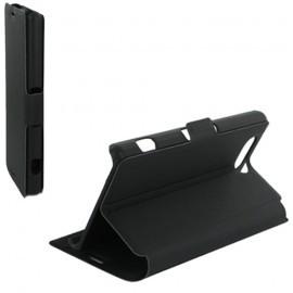 Housse portefeuille latérale avec support pour Sony Xperia Z3 Compact - couleur Noire