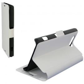 Housse portefeuille latérale avec support pour Sony Xperia Z3 Compact - couleur Blanche