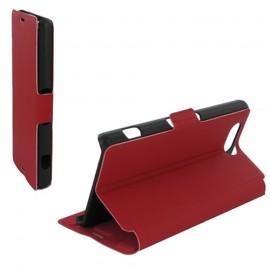 Housse portefeuille latérale avec support pour Sony Xperia Z3 Compact - couleur Rouge