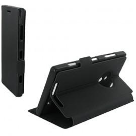 Housse portefeuille latérale avec support pour Nokia Lumia 830 - couleur Noire