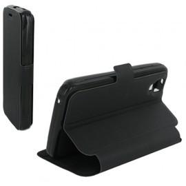 Housse portefeuille latérale avec support pour Wiko Sunset - couleur Noire