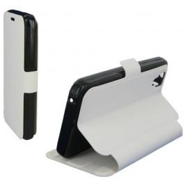 Housse portefeuille latérale avec support pour Wiko Sunset - couleur Blanche
