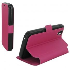Housse portefeuille latérale avec support pour Wiko Sunset - couleur Fuchsia